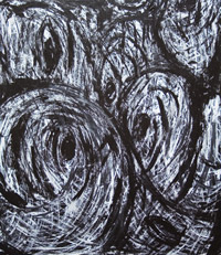Abstract, abstract expressionism, black and white, spirals, swirls, dynamic abstract spiral pattern, movement, acrylic painting #5389, 2006 | Kazuya Akimoto Art Museum
