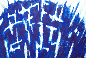 Dyeing Blue: abstract blue symbolism, contemporary tachism, tachisme, tache, stains, blots, lyrical abstraction, abstraction lyrique, blurring, oozing, abstract blue acrylic painting# 5473, 2006 | Kazuya Akimoto Art Museum