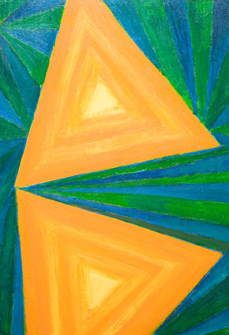 geometric pattern, stripe pattern, abstract pattern, complementary color pattern, concentric triangle pattern, geometric symbolism, acrylic painting # 5534, 2006 | Kazuya Akimoto Art Museum