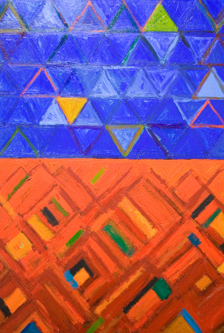 abstract geometric triangle, diamond, pattern, cobalt blue and red complementary color contrast, comparison, juxtaposition, abstract allegory, acrylic painting #5585, 2006 | Kazuya Akimoto Art Museum