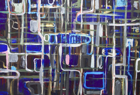 abstract night scene, abstract graffiti, abstract map, abstract cityscape, rough brush strokes, abstract streetscape, acrylic painting #5646, 2006 | Kazuya Akimoto Art Museum