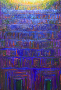 Two Entrances of the Blue Temple  : solemn, sacred, blue color symbolism, blue and yellow, serene, tranquil, complementary colors, religious, architectural symbolism painting, monumental entrance, facade, light and dark, sacred building theme, acrylic painting #5673, 2006 | Kazuya Akimoto Art Museum