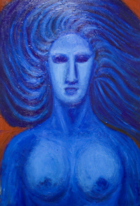 blue  symbolism, figurative woman , female bust, mythological roman goddess, portrait, complementary color painting #6347, 2007 | Kazuya Akimoto Art Museum — Venus, Aphrodite, love, blue, symbolism, symbolic, woman, female,  bust, roman, greek mythology, portrait, complementary colors, blue, red, painting 2007