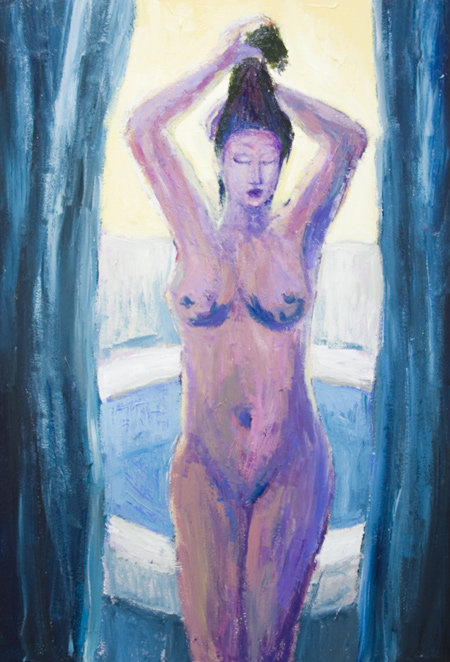 After the Bath, Woman putting up her hair : New figurative, interior, ordinary life scene, feminine figure in the backlight, contemporary impressionism, color cordinating perspective acrylic painting #6388, 2007 | Kazuya Akimoto Art Museum