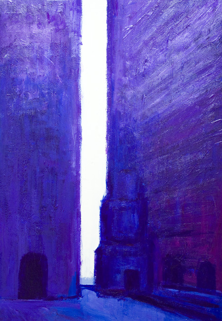New abstract cityscape, color symbplism, acrylic puple abstract streetscape purple/blue painting # 6426, 2007 ~ Kazuya Akimoto Art Museum