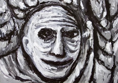 The Last Man's Last Smile : New,facial expression, raw art, art brut,painting, man's, male portrait, human, man's, face, black and white, thick line, monotone, expressionism, narrative, evocative, acrylic painting #6609, 2007 | Kazuya Akimoto Art Museum
