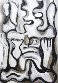 Ascetic Bonze : New, monotone, abstract, distortion, distorted, human figure, human form, black and white, thick line, buddhism, abstract figurative acrylic painting #6672, 2007 | Kazuya Akimoto Art Museum