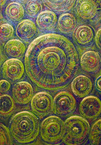 The Wheels : New, abstract geometric pattern, contemporary mandala pattern, geometric symbolism, abstract circle pattern, green, greenish, symbolic circles, the wheels of dharma, life, chakras, yoga, Hindu, Hinduism, Tao, Taoism, Zen, Buddhism, inner, spiritual, religious, asian, solemn, austere, sublime, sacred, holy, serene, acrylic painting #6685, 2007 | Kazuya Akimoto Art Museum