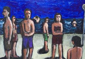 Bathers : New, figurative, expressionism, human figures, people, ordinary, daily, life scene, seaside, beach, dark and light, shade and light, seasonal, acrylic painting$6736, 2007 | Kazuya Akimoto Art Museum