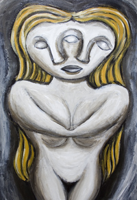 Reflected Goddess : New, neoclssicism, sculptural, surrealism, female portrait, human form, odd, strange, woman body, classical,  distortion, distorted figure, female, woman, figurative, human figure, mirror, reflection, distortion, acrylic painting #6753, 2007 | Kazuya Akimoto Art Museum