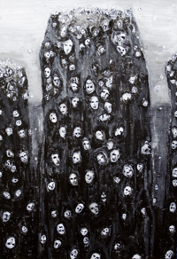 New, religious, spiritual symbolism, surrealism strange sight, black and white, crowding human souls, floating human faces, acrylic painting #6776, 2007 | Kazuya Akimoto Art Museum