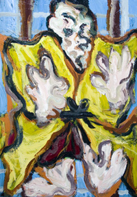 Samurai Warrior : New Japonism, contemporary Japonisme, Japanese samurai warrior, kabuki actor portrait, Japanese traditional theme, contemporary ukiyo-e style portrait painting, expressionism, abstract expressionism, raw art, distortion, distorted, deforme, abstract human figure, acrylic painting #6826. 2007 | Kazuya Akimoto Art Museum