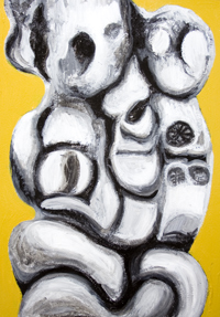 New, religious symbolism, two-dimensional sculptural image, religious surrealism, distortion, distorted, human figures, christianity, love, family,  black and white, abstract human figure, holy, sacred figures, 3d image, figurative abstraction, contemporary icon, iconographic, three-dimensional shape, plastic, solid, two-dimensional stabile image, acrylic religious painting#6883, 2007 | Kazuya Akimoto Art Museum