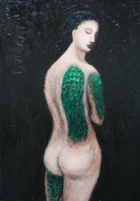 Reptile Woman : New, mythological, legendary, imagenary, symbolic surrealism, surreal realism, female, woman figure, animal symbolism, contemporary, chiaroscuro, sfumato, classical, traditional techniques,female, human body form, acrylic visionary figurative painting #6893,2007 | Kazuya Akimoto Art Museum