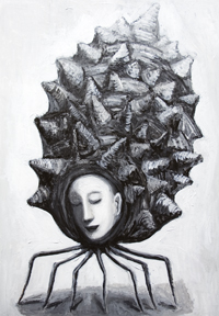 Muse in a shell: New black and white surreal  female face, balck and white surrealism, mythologcical goddess of art,odd, strange, weird acrylic painting # 7101, 2008 | Kazuya Akimoto Art Museum