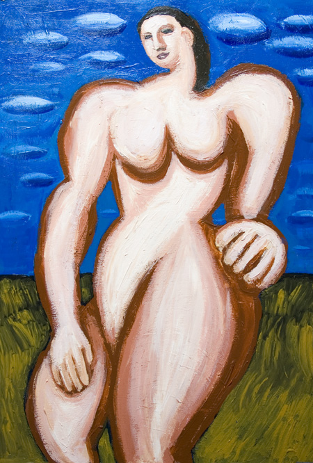 New, neoclassicism, woman, female massive body form, dynamic mass movement, contemporary human figure, abstract human body form, acrylic painting #7108, 2008 | Kazuya Akimoto Art Museum