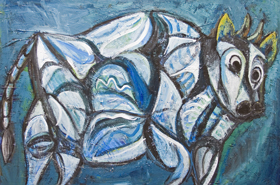 Blue Jeweled Cave Cattle : New, animal symbolism, abstract animal, structural symbolism,ancient cave texture theme, thick, bold, and soft line pattern, acrylic painting #7133, 2008 | Kazuya Akimoto Art Museum