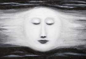 New, black and white, astronomical symbolism, personified full moon image, distorted female face, mythical, mythological symbolism, female,human, woman face symbolism, facial expressions, contemporary chiaroscuro style, sfumato technique, visionary, imaginary human face theme, acrylic painting# 7268, 2008 | Kazuya Akimoto Art Museum