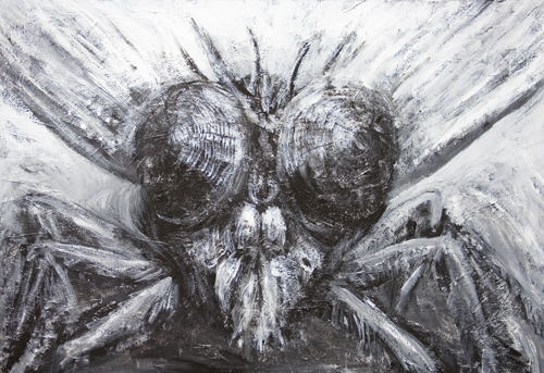 New, surreal realism, contemporary black and white realism, insect theme black and white animal, insect symbolism, surrealism, facial expression, magnified fly face, head image, acrylic painting #7357, 2008 | Kazuya Akimoto Art Museum