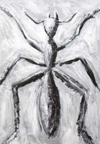 New, abstract realism, black and white living thing painting, animal, insect symbolism, abstract ancient cave style realism, impromptu, improvised, rough brush strokes, abstract symbolism, acrylic painting # 7373, 2008 | Kazuya Akimoto Art Museum