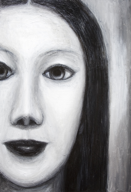 New, black and white, contemporary new Japonisme, Japanese young woman surrealist facial portrait painting, surreal realism, contemporary mythological realism, contemporary chiaroscuro style, sfumato, human face symbolism, eerie facial expression, black and white female monster theme  surrealism, acrylic painting # 7389, 2008 | Kazuya Akimoto Art Museum
