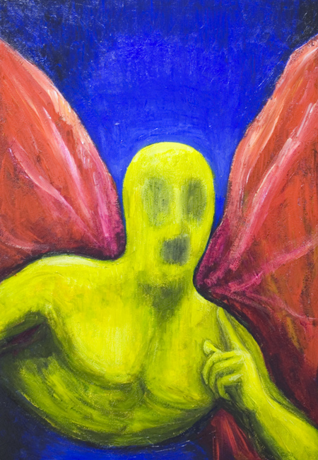 New contemporary angel theme, yellow color symbolism painting, primary colors, red, yellow,  blue, color symbolism, abstract human figure, celestial being, figurative, holy, sacred, religious symbolism, strange, odd image, colorful surrealism, surreal realism, acrylic painting #7456, 2008 | Kazuya Akimoto Art Museum