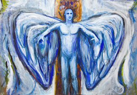 Blue Angel, before leaving ( Homage to Alban Berg, 'Violin Concerto')  : New contemporary  music theme religious symbolism painting, Christianity angel theme, narrative symbolism, biblical symbolism, contemporary symbolism, legendary, biblical, mythological, acrylic painting #7483, 2008 | Kazuya Akimoto Art Museum