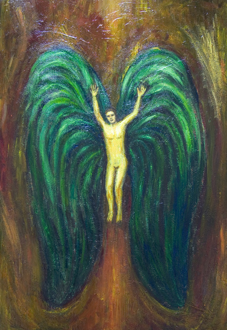 New biblical theme, contemporary Christian theme religious, naive symbolism painting, Satan, demon, fallen angel portrait, old testament, hell theme, acrylic painting # 7503, 2008 | Kazuya Akimoto Art Museum
