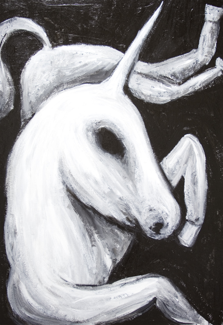 New mythological creature painting, animal horse symbolism, black and white animal painting, biblical creature, legendary, mythological symbolism, religious, religious symbolism, Christian symbolism painting, medieval ancient lore theme, calm, serene, tranquil, contemporary raw art, art brut, contemporary naive style, acrylic painting #7588, 2008 | Kazuya Akimoto Art Museum