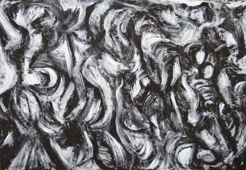 New, abstract Japonism, black and white abstract symbolism,  Japanese mythological monster, ancient Japanese legendary creature, abstract animal, dynamic abstract movement, motion theme  acrylic painting # 7608, 2008 | Kazuya Akimoto Art Museum