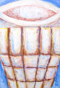 New Christian Relics, Last Supper theme abstract still life painting, contemporary religious holy chalice, goblet, grail art, abstract colorful relics, historical,religious abstract expressionism painting, abstract Christian symbolism, Christian literature theme, abstract symbolism, biblical, old testament, Christian legendary, mythological symbolism, contemporary Christianity theme acrylic painting #7684, 2008 | Kazuya Akimoto Art Museum