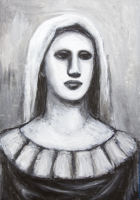 Robust Virgin Mary : New black and white contemporary strong holy Virgin Mary image, Virgin Mary bust portrait painting, new Christian symbolic icon, contemporary religious symbolism, female symbolism, female bust, classical, traditional Christian theme, acrylic painting $7723, 2008 | Kazuya Akimoto Art Museum