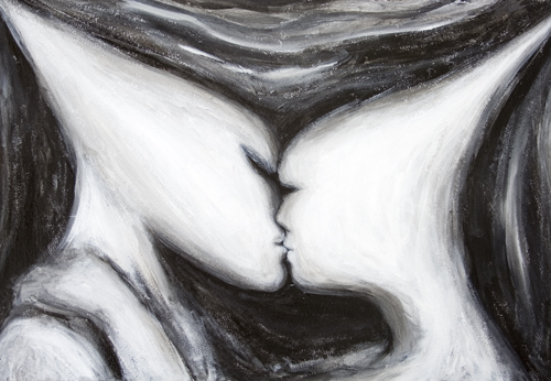 New symbolism, man and woman love theme, surreal realism in black and white  painting, abstract kiss. human love motif painting, surrealism, sfumato, chiaroscuro, dark, love painting, distortion, distorted, abstract human face, abstract head, abstract human figure, abstract movement, abstract surrealism, abstract contemporary love, black and white surrealism, acrylic painting #7750, 2008 | Kazuya Akimoto Art Museum