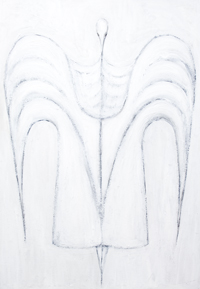 New, Egyptian symbolism, contemporary Isis portrait painting, white symbolism, white figurative line pattern, white human minimalism, abstract human religious symbolism, symmetrical painting, white symmetry, symmetrical human line pattern, abstract religious symbolism, symmetrical linear portrait, mythological pattern, mythological goddess, Egyptian goddess, legendary goddess, Egyptian myth theme, linear minimalism, mythological symbolism, contemporary Egyptian  goddess portrait painting #7790, 2008 | Kazuya Akimoto Art Museum