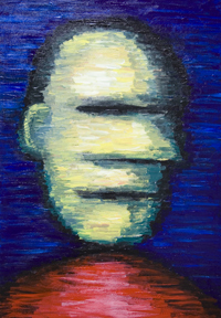 New horizontal noise pattern effect texture portrait painting, figurative abstract impressionism, abstract male portrait, abstract human face, blurring, hazy, visual noise art, abstract noise in art, blue and red contrast, contemporary portrait painting # 7801, 2008 | Kazuya Akimoto Art Museum