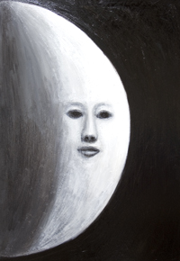 The Human Face on the Moon :New, surreal realism, black and white human face surrealism, astronomical personification art, Moon symbolism painting, personified Moon, Moon personification,  surreal, darkness and light symbolism, abstract night symbolism, the face on the lunar surface scene, surreal facial expressions, acrylic painting # 7861, 2008 | Kazuya Akimoto Art Museum