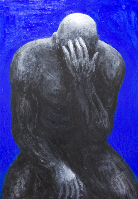 new, abstract human figure, defeated athlete theme, abstract realism painting, neoclassicism classical male athlete black silhouette against blue background painting, abstract human body symbolism, light symbolism, contemporary realism, despair, loss, depression, frustration, failure, loser, human negative emotion theme, acrylic painting #7925, 2008 | Kazuya Akimoto Art Museum