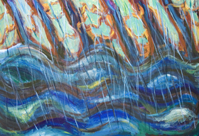 New, abstract landscape painting, abstract expressionism landscape, natural scene, abstract nature, flooded river, rainy scene, abstract rain pattern, abstract brush stroke pattern, abstract falling rain line pattern  painting, regional, Brazilian nature scene, the Amazon river, tropical rainforest scene in the rain, acrylic painting #7963, 2008 | Kazuya Akimoto Art Museum