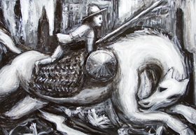 Don Quixote(Don Quijote) and his horse Rocinante tilting at Windmills : New Spanish World literature theme, black and white, surreal man and horse portrait acrylic painting #8052, 2008 | Kazuya Akimoto Art Museum