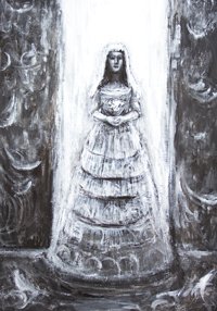new, black and white, acrylic, dark surreal realism, bride in  white bridal dress portrait painting, eerie, scary, uncanny, dark expressionism, evil, human, female, woman portrait, black and white surrealism, dark symbolism painting #8096, 2008 | Kazuya Akimoto Art Museum