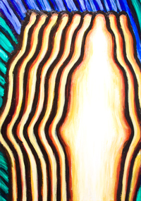 The Appearance of Multiple Buddhas : New, Japanese pop art, religious, contemporary pop art style Buddha portrait painting, contemporary religious icons, striped pattern, colorful pop style Buddha portrait, religious symbolism, abstract human figure, acrylic painting #8104, 2008 | Kazuya Akimoto Art Museum