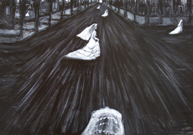 Wandering June Brides : New, black and white, odd, strange, eerie, dark surreal streetscape scene, symbolic bridal figures, black and white wedding theme surrealism, surreal cityscape scene, female symbolism, acrylic painting #8122, 2008 | Kazuya Akimoto Art Museum