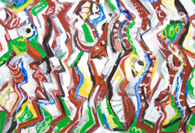 The Battle of Marathon : New, historic Greco-Persian Wars theme abstract expressionism painting, famous historical warfare literature theme, abstract fighting battle scene, abstract group fighting figures, acrylic painting #8126, 2008 | Kazuya Akimoto Art Museum