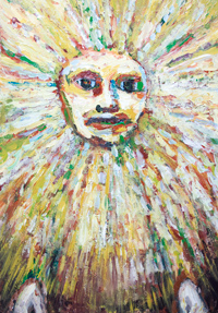 The Sun God : New, expressionism mythological sun god face, raw art painting, solar deity,  personified human face, abstract mask, radiation brush stroke pattern, solar symbolism, astronomical symbolism, persona god, art brut, outsider art, naive, contemporary god portrait painting, #8245, 2009 | Kazuya Akimoto Art Museum