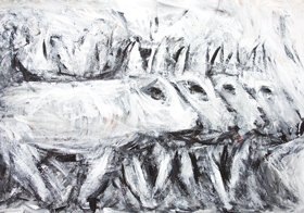 The Four Pig Brothers : New, black and white, animal symbolism, repetition, contemporary realism, animal family theme, animal expressionism, abstract animal, rough brush strokes, expressionism, abstract realism, acrylic painting #8333, 2009 | Kazuya Akimoto Art Museum