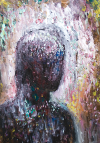 The Amazon Warrior before her final Battle :New abstract symbolism,  abstract female silhouette portrait painting, abstract surreal impressionism, contemporary pointillism, emotional, evocative, abstract vision, visionary, surreal portrait, abstract face, acrylic female symbolism painting #8352, 2009 | Kazuya Akimoto Art Museum
