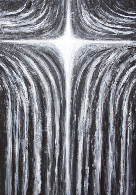 The Crucifixion : New, contemporary Christian symbolism theme, The Crucifixion of Jesus Christ abstract painting, black and white abstract religious biblical gospel expressionism, abstract Christianity cross symbolism, abstract cross, acrylic painting #8512, 2009 | Kazuya Akimoto Art Museum