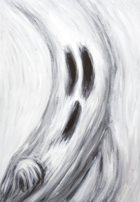 Ghost frightened at his own shadow from the moon : New Japanese manga expressionism painting, black and white odd humorous ghost portrait painting, black and white surrealism, surreal expressionism, abstract movement, brush stroke movement, abstract curves, funny facial expression theme, acrylic painting #8631, 2009 | Kazuya Akimoto Art Museum