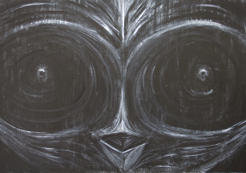 Evil Penguinv: New, dark surrealism symmetrical bird mask painting, black color animal symbolism, acrylic painting #8656, 2009 | Kazuya Akimoto Art Museum