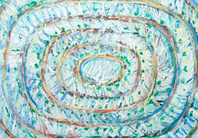 Abstract Hajj Pilgrimage : Muslim pilgrims walking around the Kaaba, Mecca  : New, abstract geometric pattern expressionism painting, abstract religious symbolism, Muslim life scene, abstract people, circular movement pattern, Islamic theme, acrylic painting #8713, 2009 | Kazuya Akimoto Art Museum